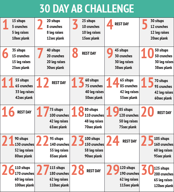 Workout Calendar For Abs : Day ab challenge new calendar template site